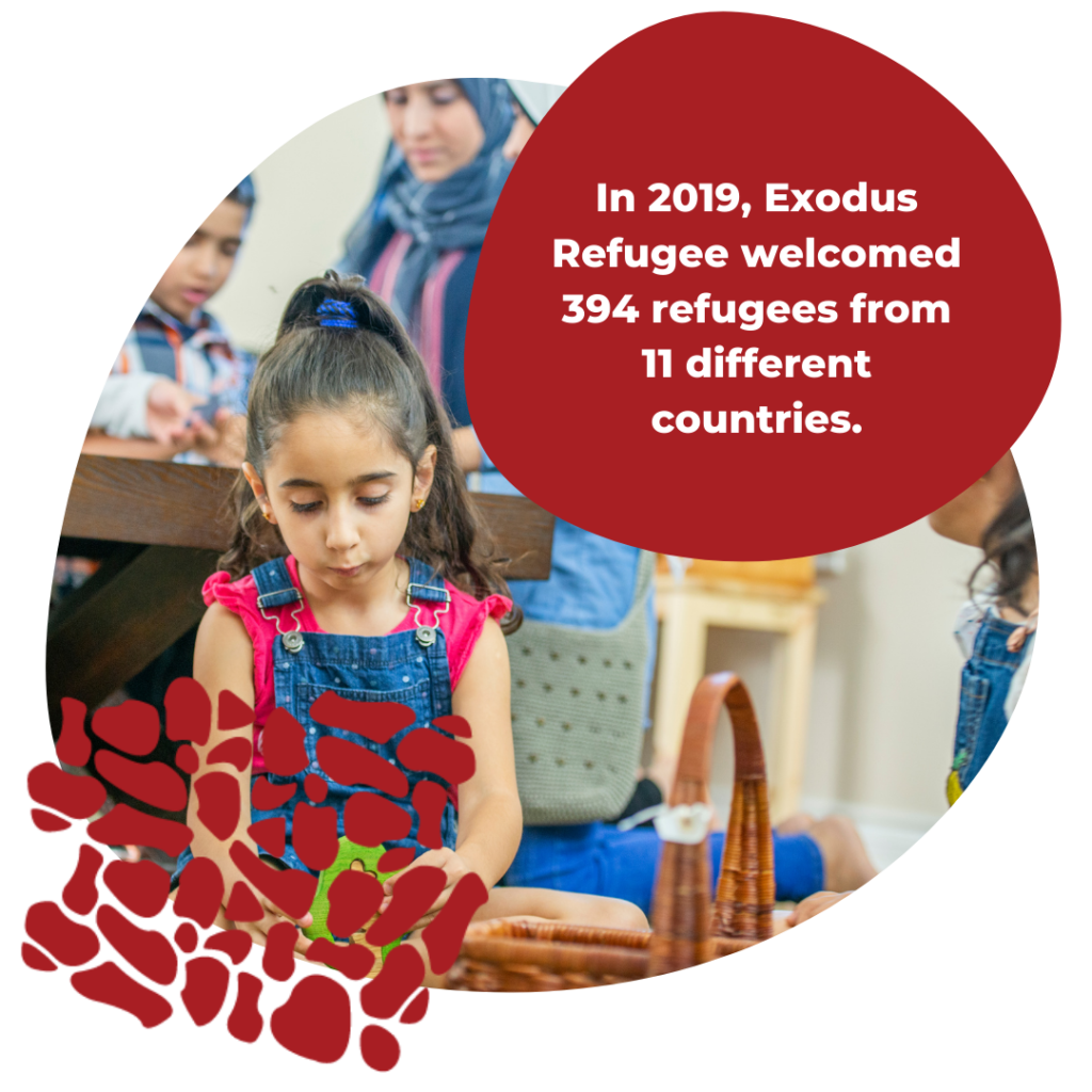 In 2019, Exodus Refugee welcomed 394 refugees from 11 different countries.