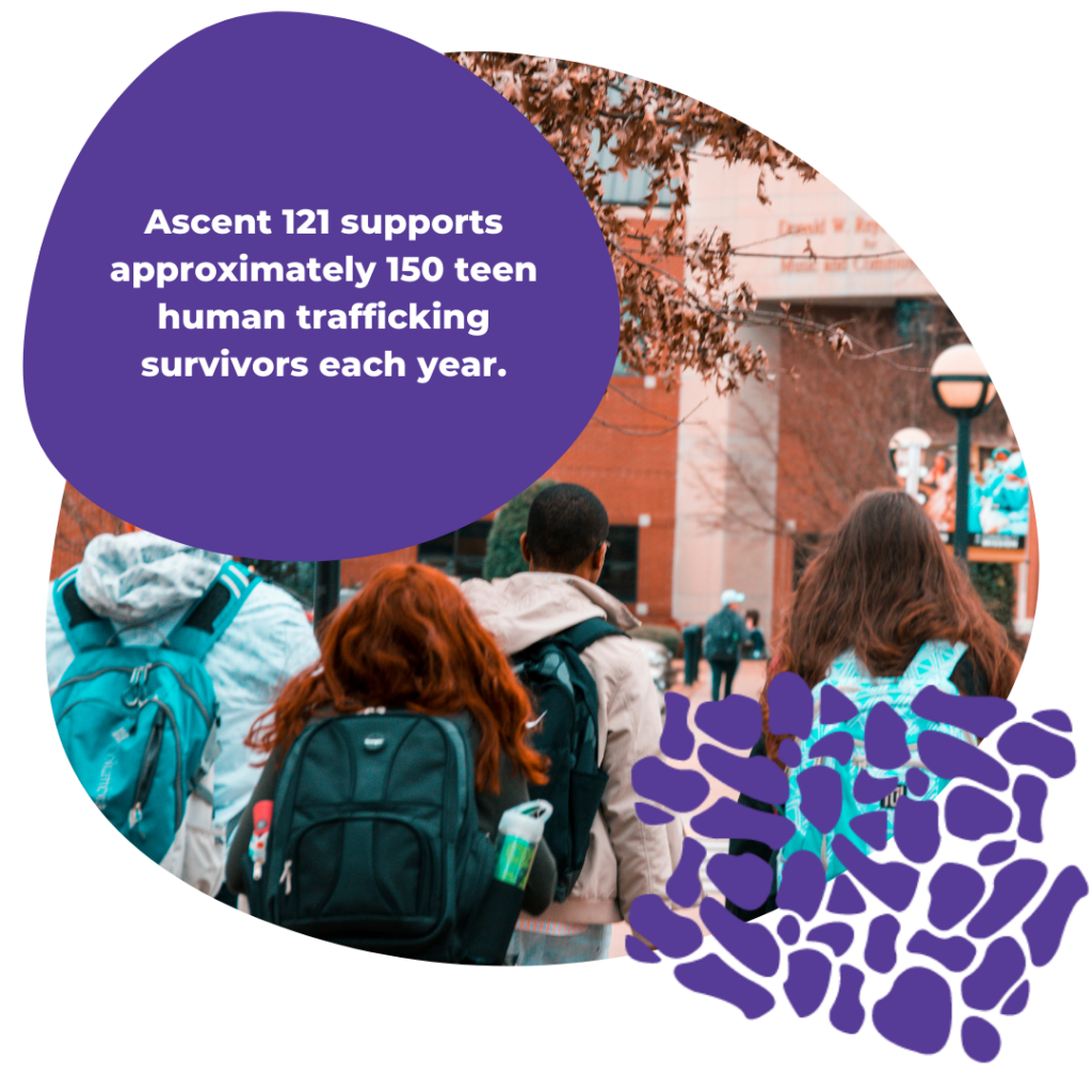 Ascent 121 supports approximately 150 teen human trafficking survivors each year.